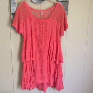 Free People | Ruffle Layer Lace Dress Large